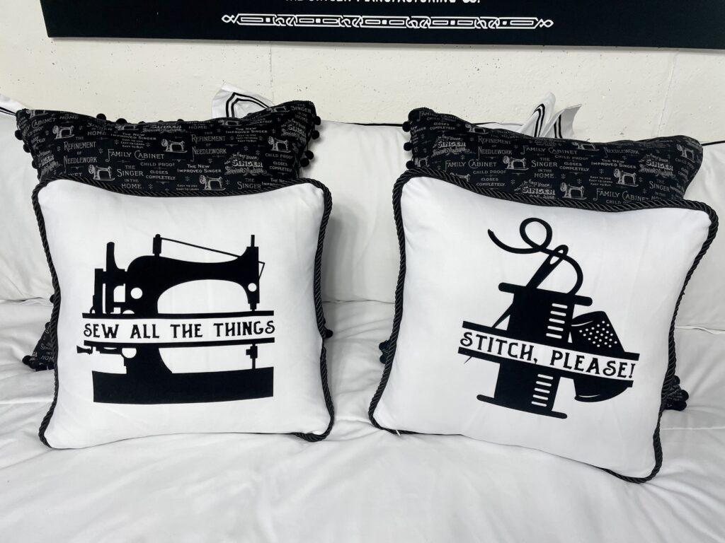 sewing pillows up close