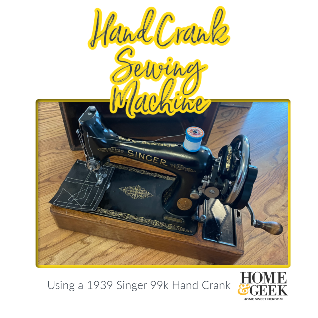 Using a hand crank sewing machine